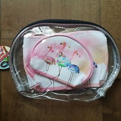 Royal Deluxe 3 Piece Rectangle Oval Flamingo Cosmetic Bag Sets NEW $9.99