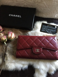 Authentic Chanel Lambskin Trifold Wallet Red $650.00