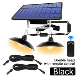 Led Solar Powered Double Lights Outdoor Indoor Yard Ceiling Lamp Kit With Remote