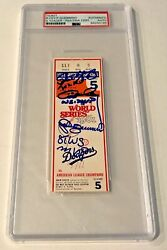 1981 World Series Steve Yeager Ron Cey Pedro Guerrero Signed Auto Ticket Psa/dna