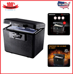 Fire Safe Security Document Storage Box Fireproof Durable Privacy Key Lock New