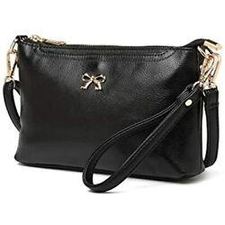 Chrysansmile Clutch Purses For Women Black Genuine Leather Crossbody Handbag $22.93