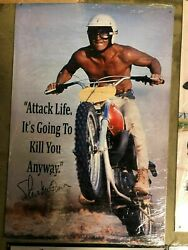 Steve Mcqueen Attack Life Metal Sign 12 X 18 Man Cave/ Garage/ Shed