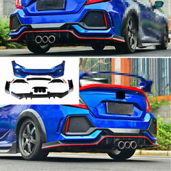 For Honda Civic Type-r 2016-2020 Abs Blue Outer Rear Bumper Diffuser Board Guard
