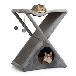 26#x27;#x27; Cat Tree Tower Foldable Pet House W Scratching Post Kitty Tree Cat Condos