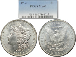 Extremely Nice 1903 Morgan Silver Dollar 1 Pcgs Ms66 Blast White