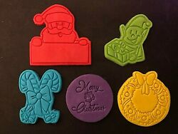 Merry Christmas Themed Embossers Wreath Elf Candy Cane Cookie Cutter Decor