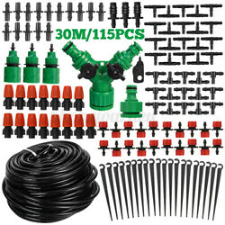 30m Diy Micro Drip Irrigation Kit System Hose Drippers Garden Plant Watering