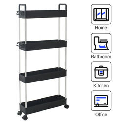 4 Tier Slim Mobile Shelving Unit Rolling Bathroom Storage Carts with Handle