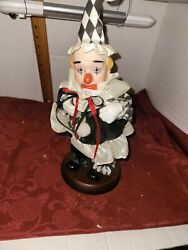 Vintage Collectible Musical Clown Doll, Porcelain Head Hands Shoes, 13in Tall
