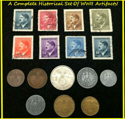 Rare Ww2 German Coins And Stamps Set Of Historical Artifacts - Complete Collection