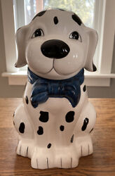 Vintage Black And White Dog Dalmation With Blue Bow Cookie Jar Made In China