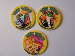 Vintage Pogs Lot Of Three 3- Dino Dudes Cool Dinosaurs 90and039s Fun Milk Caps