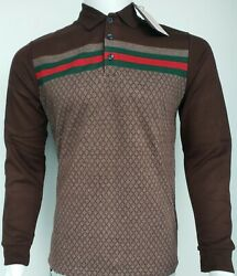 New Polo Gucci Men#x27;s Diamond Model Brown Blue Fast Shipping Long Sleeve $155.00