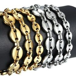 Coffee Beans Link Chain Gold Silver Bracelet For Women Men Rope Jewelry Gifts