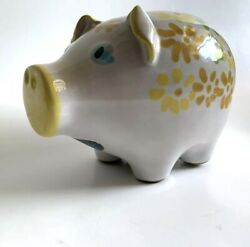 Piggy Bank Italy Hand Painted Yellow Floral Sold At Bloomingdale's 50's