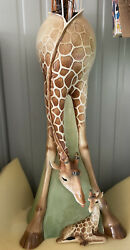 Franz Porcelain Giraffe Mother And Baby Vase Tall 31andrdquo