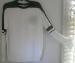 Planet By Lauren G Art To Wear Colorblock Bland Wh Boxy Pima Sweater Osfa
