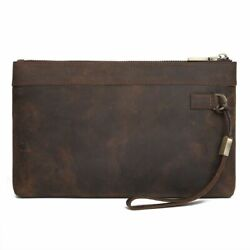 High Quality Men Rfid Handbag Genuine Leather Large Capacity Day Clutches Bags $54.22