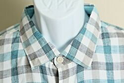 Tommy Bahama Men#x27;s white teal and gray checkered 100% linen l s shirt XL EUC $20.99