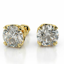 2 Carat Solitaire Diamond Stud Earrings Round Cut G/si2-i1 14k Yellow Gold