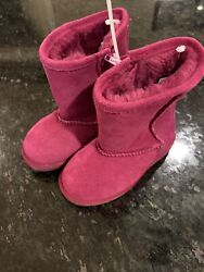 Nordstrom Rack Kids Girls Toddler New Sz 7 Suede Boot Fur Lined Pink New
