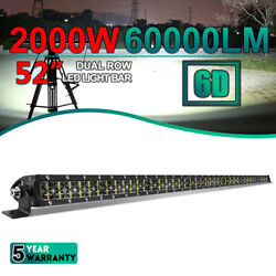 52 Inch Dual Row Led Light Bar Roof Spot Offroad Truck Driving Atv Suv 4wd Boat
