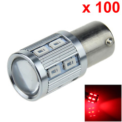 100x Red Car 1156 Stop Light Instrument Blub Hight Power 13 12 X 5630 Smd+ 1 Cre