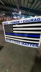 100 Lot Police Duty Honor Courage W/100 Frames Yard Sign Dbl Sided 14x23