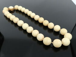 Vintage 13.5mm Natural Untreated White Coral 14k Yellow Gold Necklace