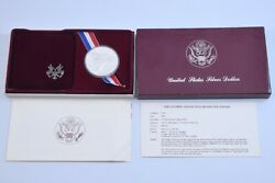 Us Mint 1983-s Olympic Proof Silver Dollar Discus Coin Complete W/ Box And Coa
