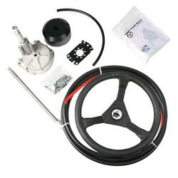Boat Rotary Steering System Outboard Kit 14 Feet Cable Marine With 13 Wheel Us