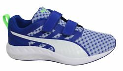 Puma Flare V Kids Strap Up Blue White Casual Trainers 188595 05 B11B $33.49
