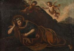 Fine Early 1700and039s Italian Baroque Old Master - Mary Magdalene With Cherubs