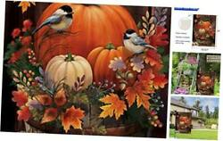 Home Decorative Pumpkin Garden Flag Happy Fall House Yard Lawn Outdoor Welcome