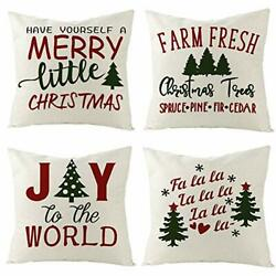 Christmas Throw Pillow Covers 18x18 Inch Set of 4 Home Decorative Winter Couch