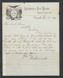 Connecticut Unionville 1869 1st Brigade National Guard Illustrated Letter
