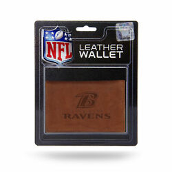 Baltimore Ravens Embossed Brown Leather Trifold Wallet