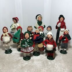 Vintage Rare Byers Choice Set Of 12 Country Family Carolers Handmade