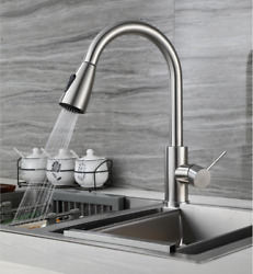 Kitchen / Bar Faucet Swivel Deck Mount Single Hole Tap Brushed Stainless Steel