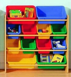 12 Bin Kids Toys Box Wood Frame Toy Bins Storage Organizer Playroom Shelf Rack