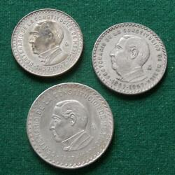 1957 Juarez Silver 105 And 1 Peso Mexican Coin Centennial Only 1 Year Mint