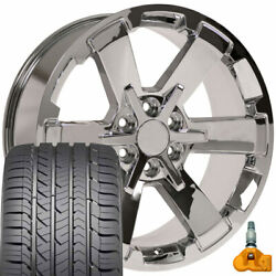 22x9 Fit Gmc Chevy Chrome Rally Style Ck162 22 Rims W/gy Tires Tpms Oew