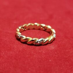 Rare And Gold Twist Ring With Diamonds 18k Size 7
