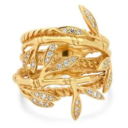 Diamond Leaf Ring 18k Yellow Gold Multi Row Bands Round Natural 0.36ct Cocktail