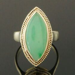Etruscan Solid 14k Gold Twisted Rope And Apple Green Jade Cabochon Estate Ring