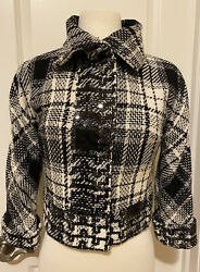 Dolce And Gabbana Black And White Tweed Cropped Jacket Sz 40made In Italy