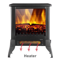 1500w Portable Electric Fireplace Space Heater Log Flame Stove Free Standing Us