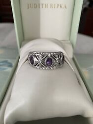 Authentic Judith Ripka Sterlingsilver 925. Ring Size 11amethyst And Diamo