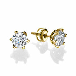 Diamond Stud Earrings 1 Ct Round Cut F/si1-si2 14k Yellow Gold Sparkling